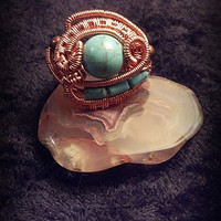 Wrapped Turquoise Howlite Ring in Copper Wire SIZE 7.5