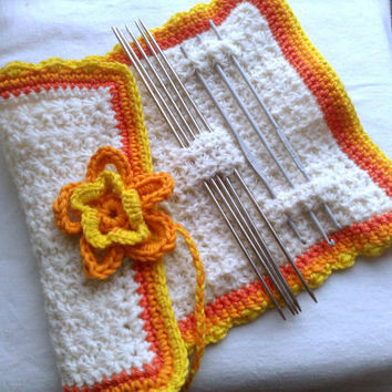 Yellow, orange, natural white Crochet Hook/Needle Case/Organizer