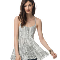 Aeropostale Womens Tiered Tunic Top - Black/White,