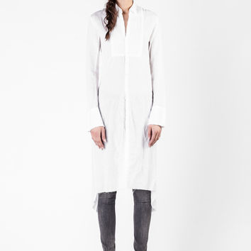Greg Lauren  - White Linen Long Studio Tux Shirt