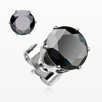 A Pair of Brilliant Sparkle Round CZ Stud Earrings