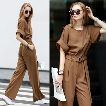 [TWOTWINSTYLE] 2016 Spring Summer Elegant Leisure Round Collar Empire Waist Loose Jumpsuits Women Wide-Legged Pants