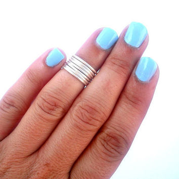 7 Above the Knuckle Rings  - Stackable Rings -  Above Knuckle Ring - Set of 7  by Tiny Box