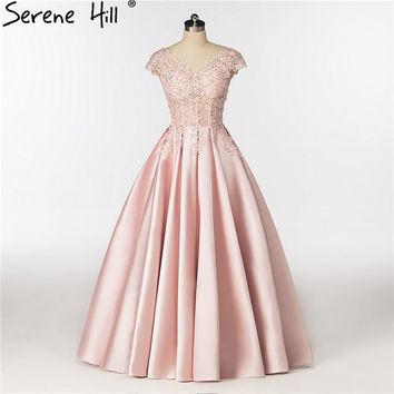 Pink Deep V Ball Gown Satin Evening Dresses Crystal Sexy Sleeveless Bride Dress Formal Evening Party
