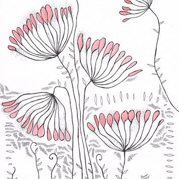 Original pink floral illustration 8.3 x 11.7''. Pen and ink drawing combined with watercolor. Delicate flowers, plants wall art.