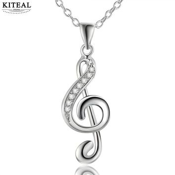 KITEAL Hot Sell Silver Plated Inlay Rhinestone Love Musical Notes Pendant Necklace Women Girls Romantic Summer Jewelry
