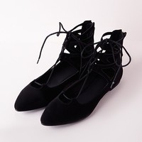 Missguided - Lace Up Pointed Flats Black