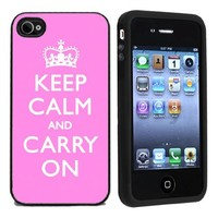 Pink Keep Calm And Carry On Case / Cover For Apple iPhone 4 or 4s by Atomic Market