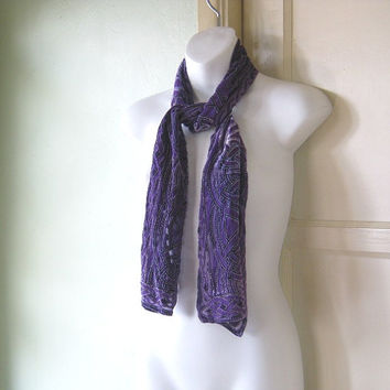 Vintage Bohemian Purple Burnout Scarf - Vintage Purple Celtic Knot Scarf - Purple Gypsy Head Scarf - Hippie Scarf - Purple Neck Scarf