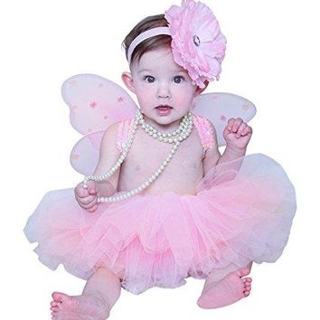 Baby Tutu Set with Fairy Wings and Headband in Pink