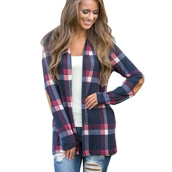 Autumn Plaid Cardigan Women Coat Casual Long Sleeve Knitted Cardigans Elbow Patchwork Knitting Sweater Tops Poncho XXL