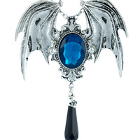 Vampire Bat Wings w/ Blue Stone & Black Teardrop Pendant Necklace Brooch In One