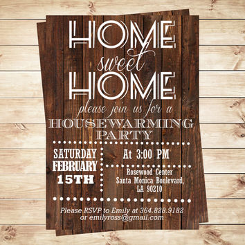 Home sweet home housewarming invitation, Rustic Wood invitation, New Home invite, Home sweet home, moving announcement, Art Party Invitation