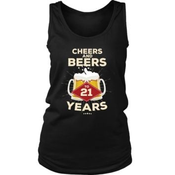 Women's 21st Birthday Tank Top Gift - Cheers and Beers to 21 Years