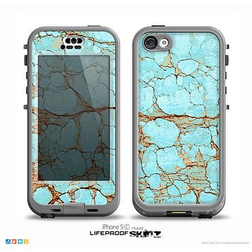 The Cracked Teal Stone Skin for the iPhone 5c nüüd LifeProof Case