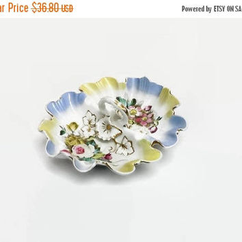 SALE Divided Serving Bowl, Antique CT Germany Double Vegetable, Vintage Carl Tielsch Dish, Center Handle White Pink Blue, Rose Flowers, Gold