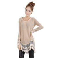 Zeagoo Women's Round Neck Knit Sweater Tops Lace Hem Mini Dress Apricot