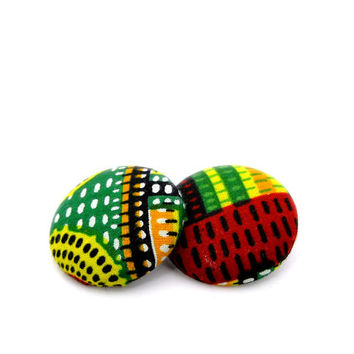 Multicolor Earrings // Red, Yellow, Green, Black and White // Ankara Fabric Earrings // Gifts under 25 // Lightweight Earrings