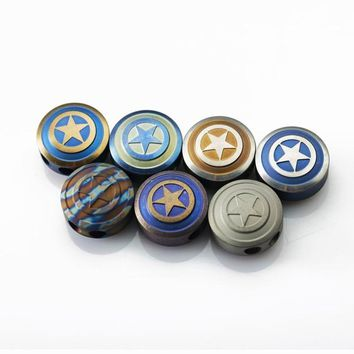 O Captain America Titanium Alloy Knife Beads Metal Charms EDC Shield Lanyards Accessories DIY Multi Tools Double Hole