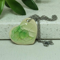Green heart Pendant Handmade pottery necklace