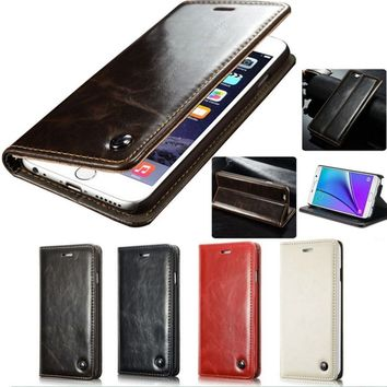 Magnet Genuine Leather Card Slot Wallet Flip Stand Case For iPhone X / 8 / 8 Plus / 7 / 7 Plus / 6 / 6 Plus / 6s / 6s Plus / 5 /