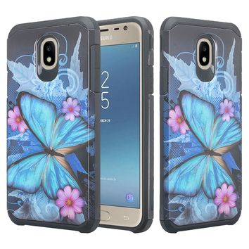 Samsung Galaxy J7 V 2nd Gen, J7 2018, J7 Star, J7 Refine, J7 Aero, J7 Aura, J7 Eon, J7 Pro SM-J730GM/DS, J7 Top, J7 Crown Case, Slim Hybrid Dual Layer [Shock Resistant] Case Cover for Samsung Galaxy J7 2018 - Blue Butterfly