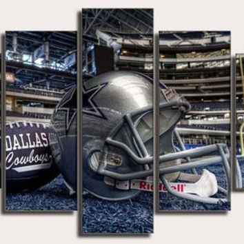 Dallas Cowboys 5 panel large HD printed painting  - Team canvas sport  print modern home decor wall art pictures for living room or man cave