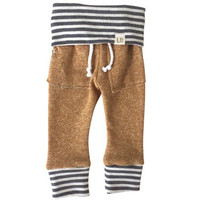 Mustard Sweatpants with Grey Stripes