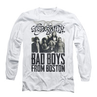 Aerosmith Men's  Bad Boys  Long Sleeve White Rockabilia