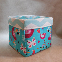 Pretty Turquoise and Purple Bird Fabric With Chevron Liner