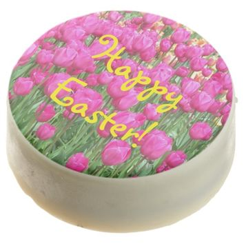 Pink Tulips Photo Easter Chocolate Dipped Oreo