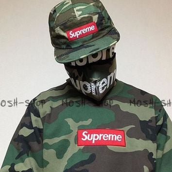 SUPREME camouflage men and women with a hoodie collar shirt pullover