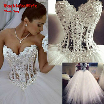 Sexy Corset Beading Pearls Sweetheart Wedding Gown vestidos de noiva Ivory Ball Gown Wedding Dress 2017 Lace Bride Dresses