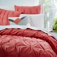 Organic Cotton Pintuck Duvet Cover + Shams - Rose Bisque