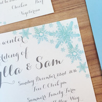 Winter snowflake wedding invitation suite