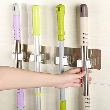 Wall Mounted Mop Organizer Holder Brush Broom Hanger Storage Rack Kitchen Tool Z1013