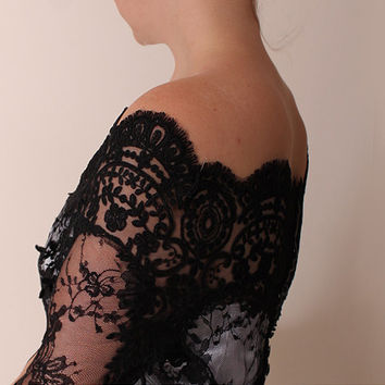 Black lace bolero Bridal /Off-Shoulder /Lace wedding jacket