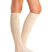 BUTTON-TOPPED TEXTURED OVER-THE-KNEE SOCKS