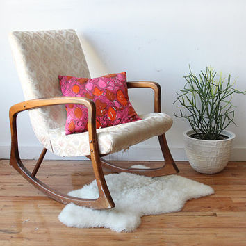 Adrian Pearsall Style Walnut Modern Rocking Chair