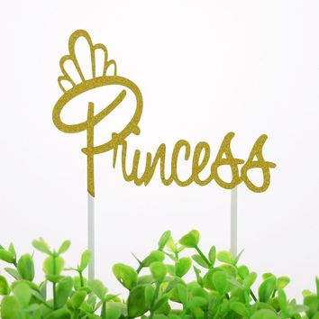 Cool Cake Topper Flags Cupcake Princess Queen Girl Toppers Bride Kids Birthday Wedding Bridal Cake Wrapper Party Baking DIY FlagAT_93_12