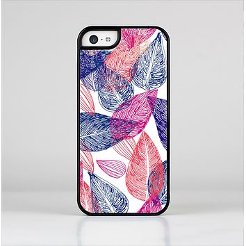 The Seamless Pink & Blue Color Leaves Skin-Sert Case for the Apple iPhone 5c