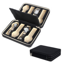 Songmics 8 Slots Zippered Watch Box Traveler's Black Watch Storage Case Organizer UJWB50B