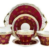 6 Person Crimson and Gold Tea Set Vintage English 1950s