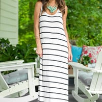 White Stripped Maxi Dress