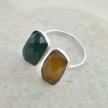 Green Onyx and Yellow Chalcedony Ring - Silver ring - Gemstone ring - Sterling silver ring - Wholesale Jewelry - #9813