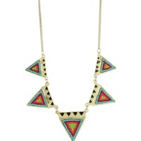 Z Designs Beaded Triangle Bib Necklace