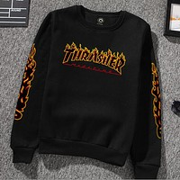 Thrasher flame sweater men and women cotton sweater crew neck Sweater pullovers Black + black flame letters