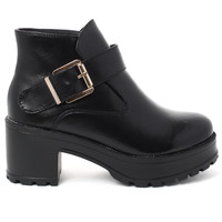 Black Leather Buckle Ankle Boots Black EU3