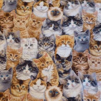 Cotton Fabric, Adorable Pets - Cats by Keith Kimberlin for Elizabeth's Studio, By the Yard, 44/45 inches Wide