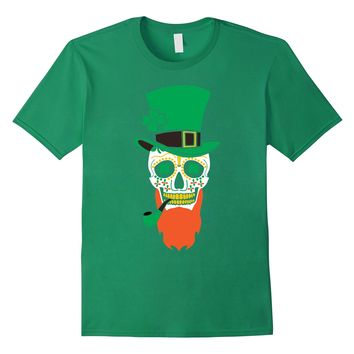St. Patrick's Day Sugar Skull With Hat And Pipe 2018 T-Shirt